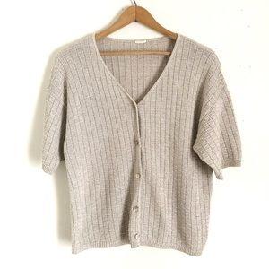 Vintage Short Sleeve V-Neck Button Up Cardigan